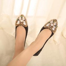 Ulasan Lengkap Tentang Peas Kasual Berlian Imitasi Baru Musim Semi Sepatu Tunggal Sendok Sepatu Hitam Sepatu Wanita Flat Shoes