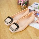 Toko Peas Korea Fashion Style Logam Musim Semi Dan Musim Gugur Baru Sepatu Beige Sepatu Wanita Flat Shoes Termurah