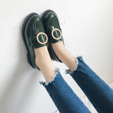 Perbandingan Harga Peas Versatile Female New Style Autumn Retro Small Leather Shoes Black Leather Shoes Hijau Sepatu Wanita Flat Shoes Di Tiongkok