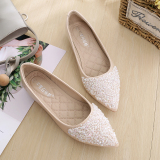 Toko Peas Musim Dingin Baru Ukuran Besar Sepatu Wanita Mulut Dangkal Sepatu Beige Sepatu Wanita Flat Shoes Terdekat