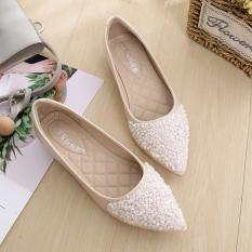 Review Peas Musim Dingin Baru Ukuran Besar Sepatu Wanita Mulut Dangkal Sepatu Beige Sepatu Wanita Flat Shoes Oem Di Tiongkok