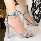 Beli Peep Toe Bertumit Sandal Wanita Sepatu Round Toe Stiletto High Heels Sandal Wanita Platform Bertumit Tinggi Sepatu Abu Abu Di Tiongkok