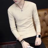 Diskon Pemuda Slim Pullover Sweater Korea Lengan Panjang T Shirt Beige Zet