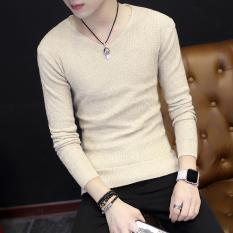 Diskon Pemuda Slim Pullover Sweater Korea Lengan Panjang T Shirt Beige Branded