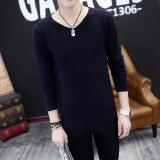 Diskon Besarpemuda Slim Pullover Sweater Korea Lengan Panjang T Shirt Biru Tua