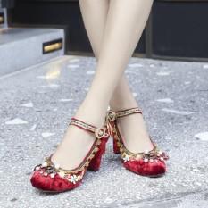 Rp 658.500 2018 tahun model baru Sepatu mempelai wanita model bulat mutiara  batu kristal air Hak Tebal sepatu wanita pengantin Sepatu pengiring ... 371d65d5dd
