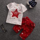 Spesifikasi Bersudut Lima Anak Laki Laki Lengan Bang Pendek Pants Bang Pendek Kaos Setelan Anak Merah Baru