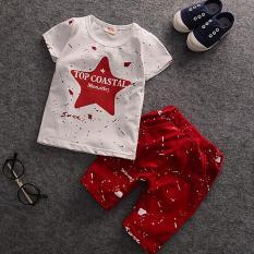 Spesifikasi Bersudut Lima Anak Laki Laki Lengan Bang Pendek Pants Bang Pendek Kaos Setelan Anak Merah Terbaik