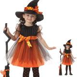 Spesifikasi Penyihir Halloween Untuk Anak Perempuan Kostum Oranye Online