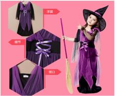 Penyihir Halloween Untuk Anak Perempuan Kostum Ungu Original