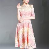 Jual Perempuan Bagian Panjang Slim Adalah Rok Ayunan Besar Tipis Lengan Pendek Gaun Gambar Warna Tiongkok