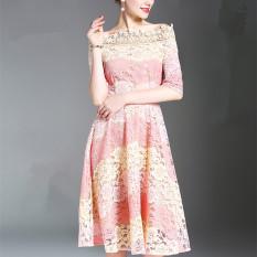 Spesifikasi Perempuan Bagian Panjang Slim Adalah Rok Ayunan Besar Tipis Lengan Pendek Gaun Gambar Warna Murah Berkualitas