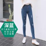 Harga Hemat Perempuan Bagian Tipis Adalah Pakaian Luar Yang Tipis Celana Pensil Musim Panas Celana Jeans Banyak Lubang Biru Tua