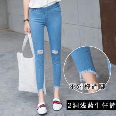 CICADA POWDER Celana Capri Model Pensil Wanita Jeans Berlubang (Dua dari lubang biru muda) baju wanita celana wanita