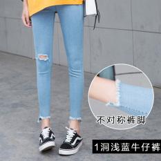 CICADA POWDER Celana Capri Model Pensil Wanita Jeans Berlubang (Sebuah lubang biru muda) baju wanita celana wanita