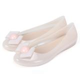 Harga Wanita Baru Datar Sepatu Jelly Plastik Sandal Summer Beige Original