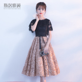 Spesifikasi Gaun Malam Kecil Perempuan Baru Musim Dingin Rok Hitam Coklat Muda Warna Baju Wanita Dress Wanita Gaun Wanita Oem