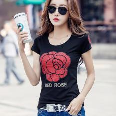 Wanita Baru Korea Fashion Style Atasan Kaos Hitam Promo Beli 1 Gratis 1
