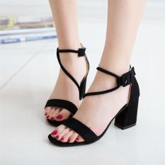 Beli Perempuan Gesit Bertumit Tinggi Sepatu Tebal Dengan Sandal Summer Hitam Pakai Kartu Kredit