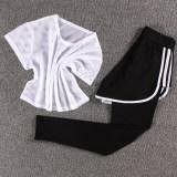 Promo Perempuan Gym Joging Celana Pakaian Yoga Jaringan T Putih Tiga Sisi Celana Putih Murah