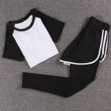 Perempuan Gym Joging Celana Pakaian Yoga Pertarungan T Putih Tiga Sisi Celana Putih Asli