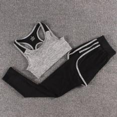 Perempuan Gym Joging Celana Pakaian Yoga Symphony Bra Abu Abu Tiga Sisi Celana Symphony Abu Abu Oem Diskon 40