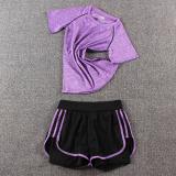 Spesifikasi Perempuan Gym Joging Celana Pakaian Yoga Symphony T Ungu Tiga Sisi Celana Pendek Ungu Yang Bagus Dan Murah