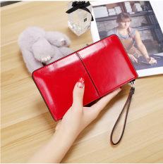 Beli Perempuan Kapasitas Besar Ritsleting Dompet Wanita Model Panjang Dompet Merah Dengan Kartu Kredit