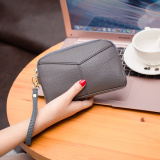 Toko Wanita Kapasitas Besar Hiasan Kerang Model Panjang Dompet Tas Tangan Abu Abu Oem Online