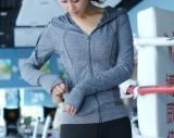 Harga Perempuan Kebugaran Berjalan Pelatihan Slim Hoodie Jaket Olahraga Abu Abu Terbaik