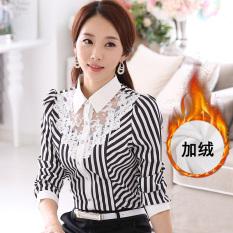 Berapa Harga Kemeja Kemeja Tambah Beludru Perempuan Lengan Panjang Putih 6139 Ditambah Beludru Bergaris Di Tiongkok