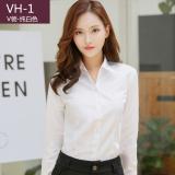 Diskon Lengan Lengan Panjang Wanita Profesi Kerah V Kemeja Kemeja Putih Murni Putih Vh 1 Kata V Kerah Oem Tiongkok