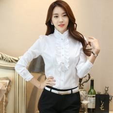 Review Versi Korea Perempuan Lengan Panjang Kerah Stand Up Slim Sifon Putih Blus Kemeja Putih Murni Putih Murni Oem