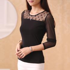 Toko Perempuan Lengan Panjang Musim Gugur Baru Korea Fashion Style Slim T Shirt Bottoming Kemeja Dot Model Hitam Dot Model Hitam Lengkap
