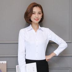 Lengan Lengan Panjang Wanita Profesi Bekerja Perkakas Kemeja Kemeja Putih (Putih Polos Motif Polos V-neck Lengan Panjang ★)