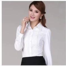 Perempuan Lengan Panjang Slim Seragam Kerja Kemeja Putih (Putih Polos Lengan Panjang) baju wanita baju atasan kemeja wanita blouse wanita