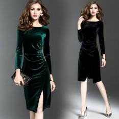 Perempuan Lengan Panjang Slim Terlihat Langsing Rok Setengah Panjang Beludru Gaun (Hijau Gelap) baju wanita dress wanita Gaun wanita