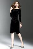 Spesifikasi Perempuan Lengan Panjang Slim Terlihat Langsing Rok Setengah Panjang Beludru Gaun Hitam Baju Wanita Dress Wanita Gaun Wanita Terbaik