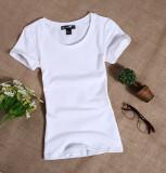 Obral Perempuan Lengan Pendek Slim Warna Solid Atasan Leher Bulat Putih T Shirt Putih Baju Wanita Baju Atasan Kemeja Wanita Murah