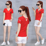 Jual Kaos Lengan Pendek Blus Korea Fashion Style Baru Merah Online Tiongkok