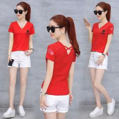 Toko Kaos Lengan Pendek Blus Korea Fashion Style Baru Merah Lengkap Di Tiongkok