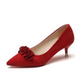 Harga Perempuan Menunjuk Hak Tipis Bunga Sepatu Merah Sepatu Hak Tinggi Merah Yang Bagus