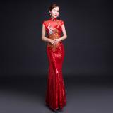 Beli Wanita Model Panjang Perhiasan Yang Berkelip Kelip Perjamuan Pertunjukan Peningkatan Cheongsam Gaun Malam Merah Tua Murah Tiongkok