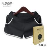 Beli Longgar Korea Fashion Style Perempuan Pakaian Luar Siswa Celana Panas Kebugaran Celana Pendek Tarik Strip Saku Model Hitam Bergaris Putih Terbaru