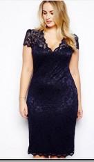 Harga Perempuan Musim Panas S*xy Lace Baju Gown Evening Gaun Big Ukuran Perempuan Violet Seken