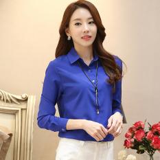 Spesifikasi Korea Fashion Style Slim Warna Solid Kemeja Lengan Panjang Dan Lengan Panjang Kemeja Biru Navy Biru Navy