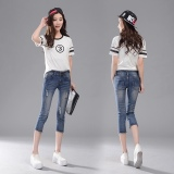 Beli Jeans Sepertujuh Celana 3 4 Perempuan Musim Semi Dan Musim Panas Baru Biru Tua Kredit