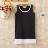 Harga Perempuan Musim Semi Dan Musim Panas Pakaian Luar Perempuan Bottoming Kemeja Katun Tanpa Lengan Vest Biru Tua Baju Wanita Baju Atasan Terbaik