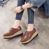 Beli Perempuan Sol Tebal Putaran Bertumit Tinggi Sepatu Kulit Kecil Sepatu Wedges Coklat Kode Standar Cina Sepatu Wanita Flat Shoes Murah Tiongkok