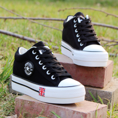 Kets Putih Musim Semi atau Musim Gugur Sepatu Santai Sepatu Wanita Sol Tebal Sepatu Angsa Emas (Hitam)